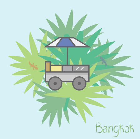 Vector Flat illustration: Typical food truck of asian street vendors, especially in Thailand. Geckos and palm trees at the background. Good as a logo, postcard or just a cute picture in the asian style. Stock Vector - 122896445