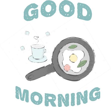 Nette Morgenskizze. Guten Morgen hab einen schönen Tag. Genießen Sie Ihr Eierfrühstück mit Gemüse und einer Tasse Kaffee. Die Vektorgrafik kann als Karte verwendet werden oder wäre großartig für die Website.