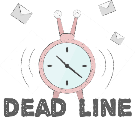 Bonito dibujo vectorial. Alarma de fecha límite. Saliendo de alarma y correos electrónicos o cartas de fondo. La ilustración vectorial se puede utilizar como un elemento de diseño web, una postal o simplemente un lindo dibujo para personas ocupadas. Ilustración de vector