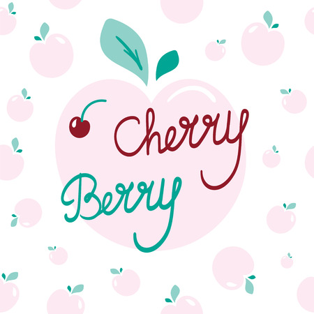 Fresh and fruity Vector illustration. Pink and green background with Cherry berry lettering can be used as Cute and lovely postcard, fruits background, romantic giftcard or paper wrap image.