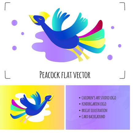 Flying peacock vector illustration. Bird isolated on white background. Bright colors and gradients. Can be used a logo of arts school, kindergarten, studios for kids, cards o print design.