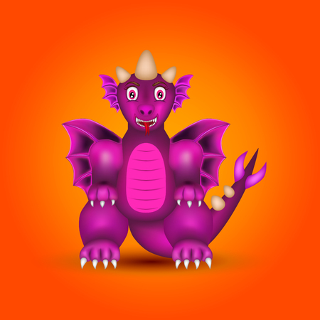 Purple dragon as cartoon character or toy on an orange background.
