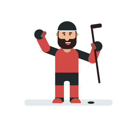 puck: Hockey team player with stick and puck. Isolated sport character