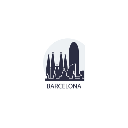 Spain Barcelona city landscape skyline panorama vector logo flat cool icon