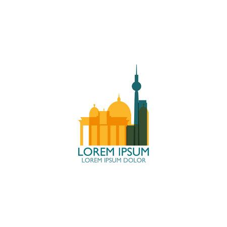 Germany capital Berlin city landscape skyline panorama vector flat modern logo