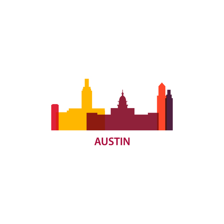 USA America Austin city modern landscape skyline panorama silhouette vector banner illustration