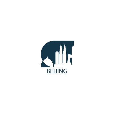 China capital Beijing modern city landscape skyline panorama vector flat blue logo