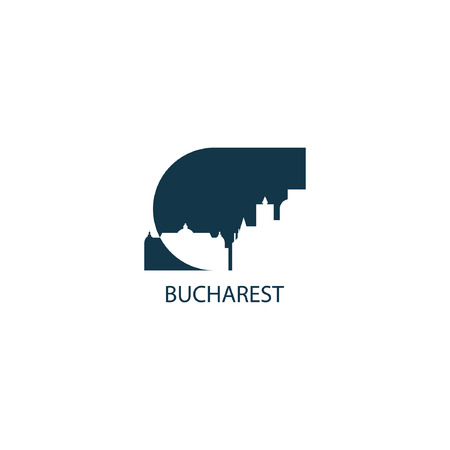 Romania capital Bucharest fancy city landscape skyline panorama vector logo flat icon Illustration