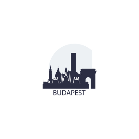 Hungary Budapest capital city panorama view landscape flat cool silhouette color vector icon logo