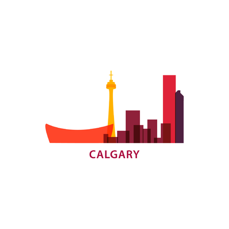 Canada Calgary city panorama view landscape silhouette flat cool color vector banner illustration