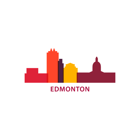 Edmonton Canada city panorama view landscape silhouette flat modern vector banner logo