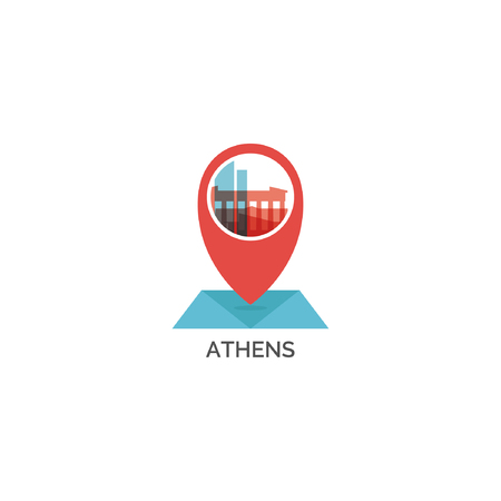 Greece Athens map pin point geolocation modern skyline shape vector Illustration.
