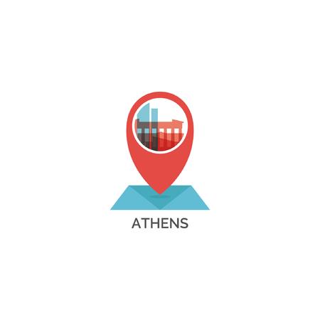 Greece Athens map pin point geolocation modern skyline shape vector Illustration.