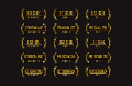 Set of Movie award best original soundtrack winner icon. Ilustração