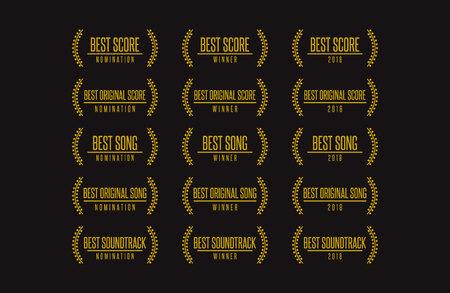 Set of Movie Award beste original Soundtrack-Gewinner-Symbol. Vektorgrafik