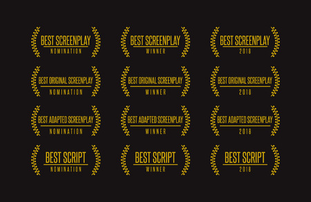 Movie award best original adapted screenplay film script nomination winner vector icon set. Illustration