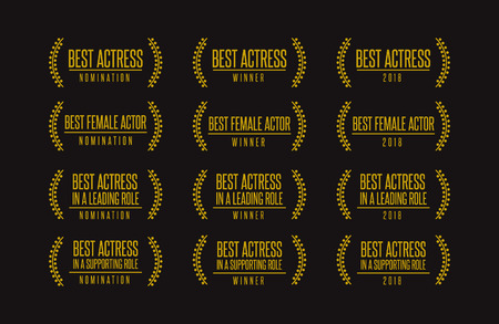 Movie award best leading support actress nomination winner black gold icon set