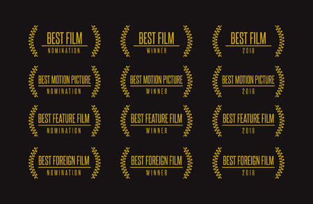 Movie award best feature film motion picture nomination winner gold vector logo icon set