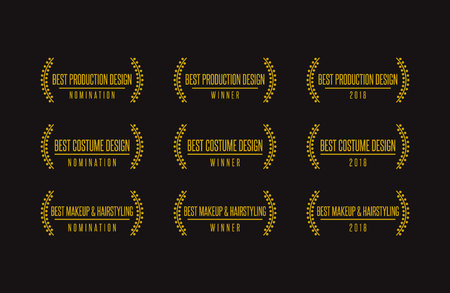 Movie award best design production costume makeup hairstyling nomination winner vector icon set.