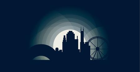 USA United States of America Chicago blue moonlight night city panorama landscape skyline flat icon.
