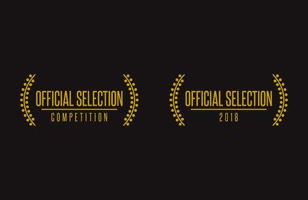 Official selection best movie nomination prize winner on film festival 2018 nomination winner black gold vector icon set