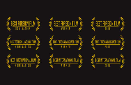 Movie award best foreign language film nomination winner black gold icon icon set