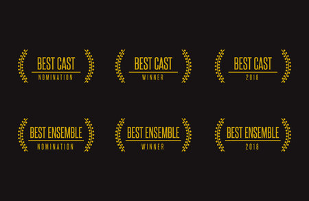 Film award beste ensemble cast acteren nominatie winnaar zwart goud vector icon set Vector Illustratie