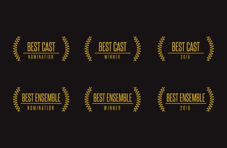 Movie award best ensemble cast acting nomination winner black gold vector icon set