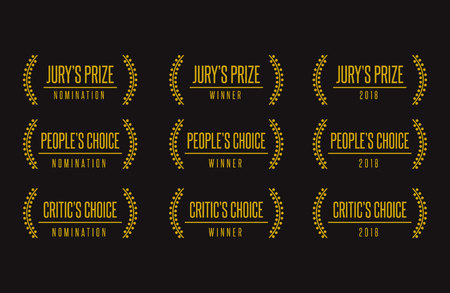 Jury people critic choice best movie film festival awards nomination winner black gold vector icon set
