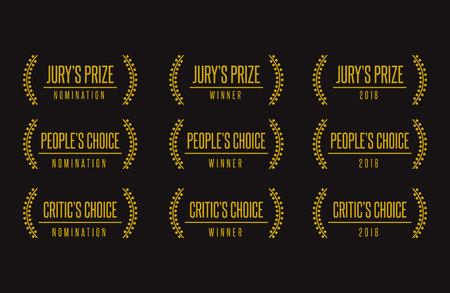 Jury people critic choice best movie film festival awards nomination winner black gold vector icon set