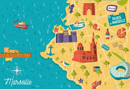 Cartoon style France Marseille sightseeing vector map. Summer vacation postcard illustration Zdjęcie Seryjne - 97356443