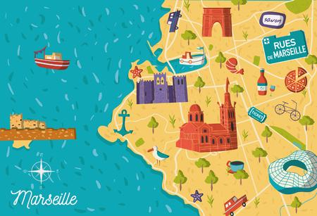 Cartoon style France Marseille sightseeing vector map. Summer vacation postcard illustration Illustration