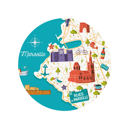 France Marseille vector city map illustration. Cartoon sightseeing and memories south summer card concept