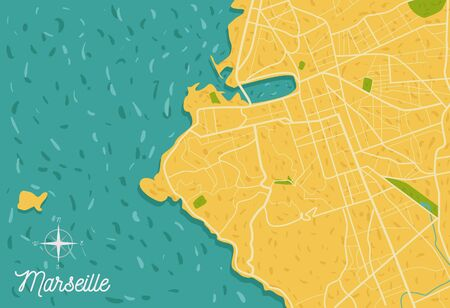 France seaside Marseille city road map. Navigation street tourism vector illustration