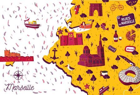 Bright cartoon style France Marseilles sightseeing vector map. Summer vacation postcard illustration