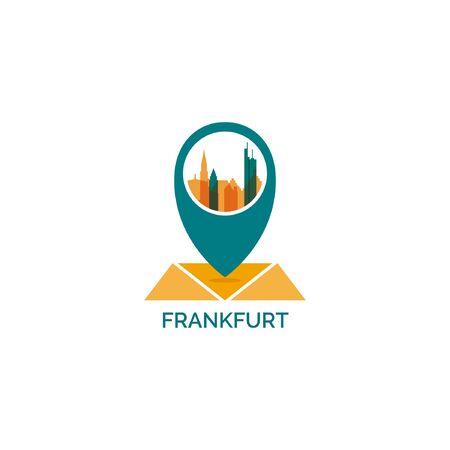 Germany Frankfurt map city pin point geolocation modern skyline shape pointer vector flat logo icon illustration Ilustração