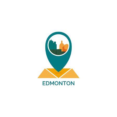 An Edmonton map city pin point geo-location modern skyline shape pointer vector flat logo icon illustration