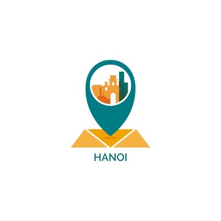 Vietnam Hanoi map city pin point geolocation modern skyline shape pointer vector flat logo icon illustration