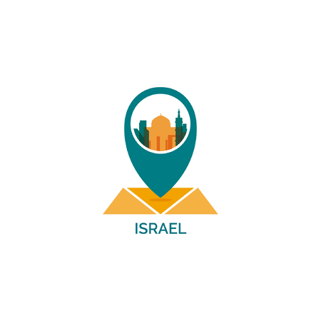 Israel Country Map Pin Point Geolocation Modern Skyline Shape Pointer  Vector Flat Logo Icon Illustration.