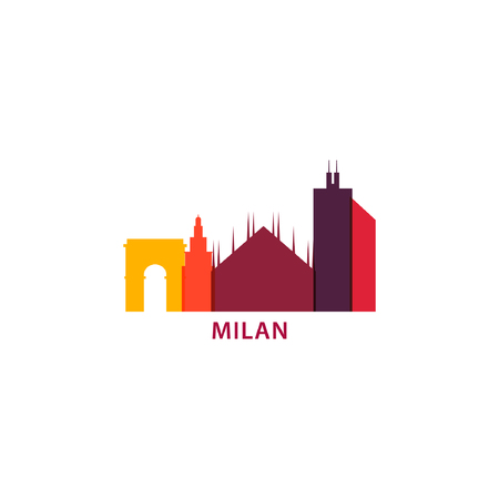 Italy city Milan cool landscape panorama silhouette shape vector logo banner Illustration