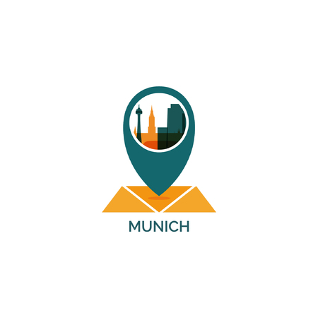 Germany Munich map city pin point geolocation modern skyline shape pointer vector flat logo web icon Vector illustration. 일러스트