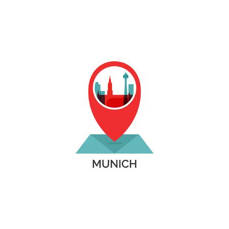 Germany Munich map city pin point geolocation modern skyline shape pointer vector flat logo web icon Vector illustration. Ilustração
