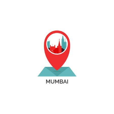 India Mumbai map city pin point geolocation modern skyline shape pointer vector flat logo web icon illustration Vettoriali