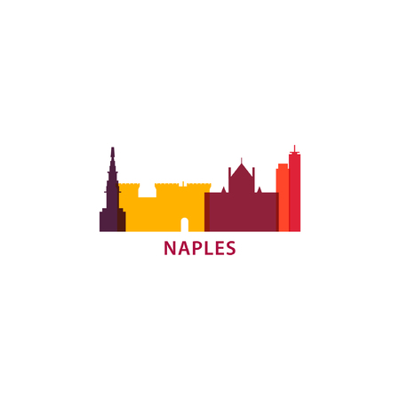 Italy Naples modern city landscape skyline vector logo. Panorama silhouette shape flat banner