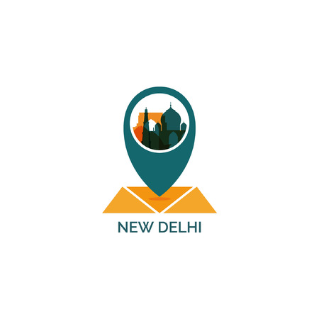 India New Delhi map city pin point geolocation modern skyline shape pointer vector flat logo web icon illustration