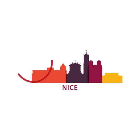 France Nice city landscape modern panorama silhouette skyline vector logo icon