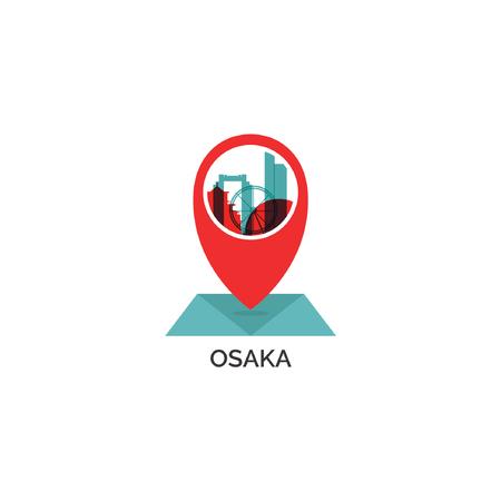 Japan Osaka map city pin point geolocation modern skyline shape pointer vector flat logo web icon illustration