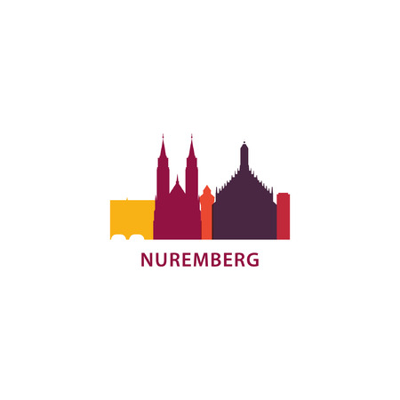Germany Nuremberg city panorama view landscape flat modern color icon logo