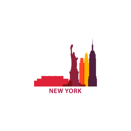 USA New York city landscape skyline panorama silhouette shape vector logo banner