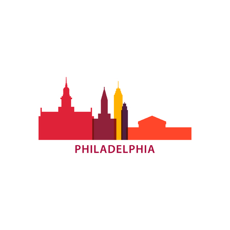 USA Philadelphia city landscape skyline panorama silhouette shape vector banner.  イラスト・ベクター素材